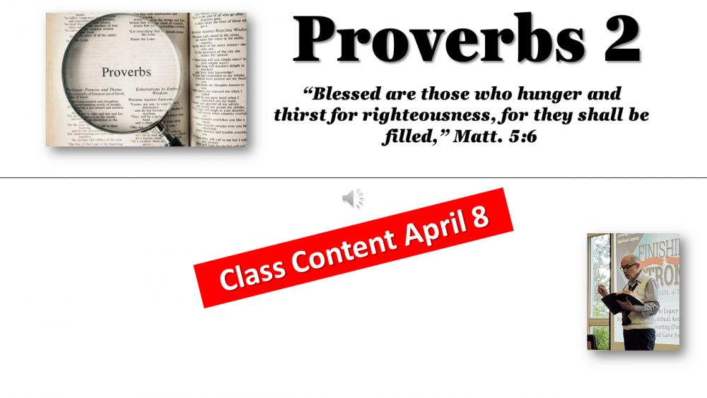 Proverbs Class #4