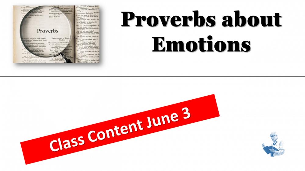 Proverbs Class June 3