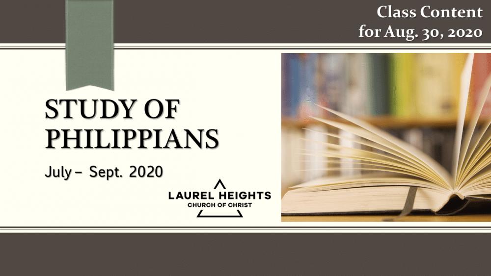 Philippians Class Aug. 30