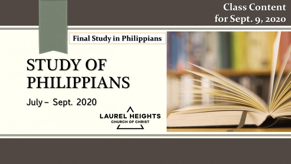 Final Class, Philippians Sept. 9