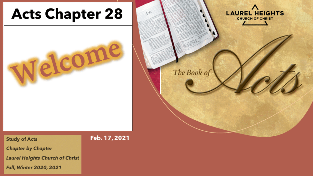 Acts 28 for Feb. 17 Image