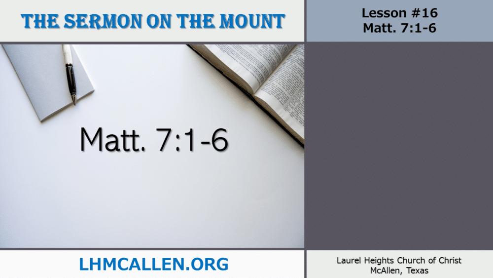 Sermon on the Mount June 30