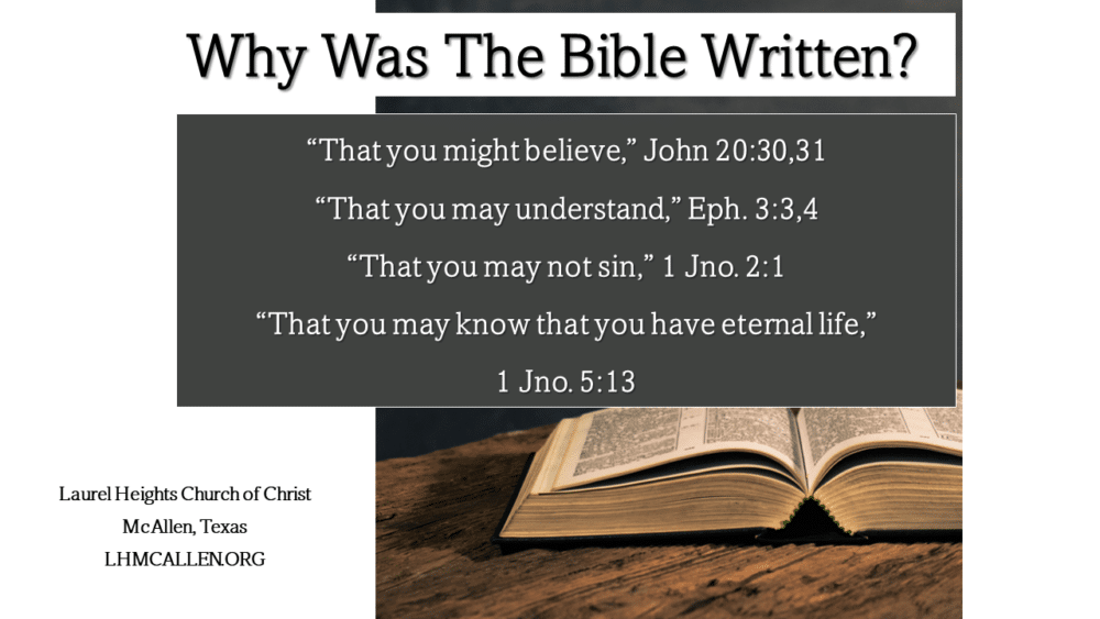Why The Bible Was Written Sept. 12 am Image